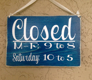 10x8  Open Closed Business Hours Wood Corporate Sign