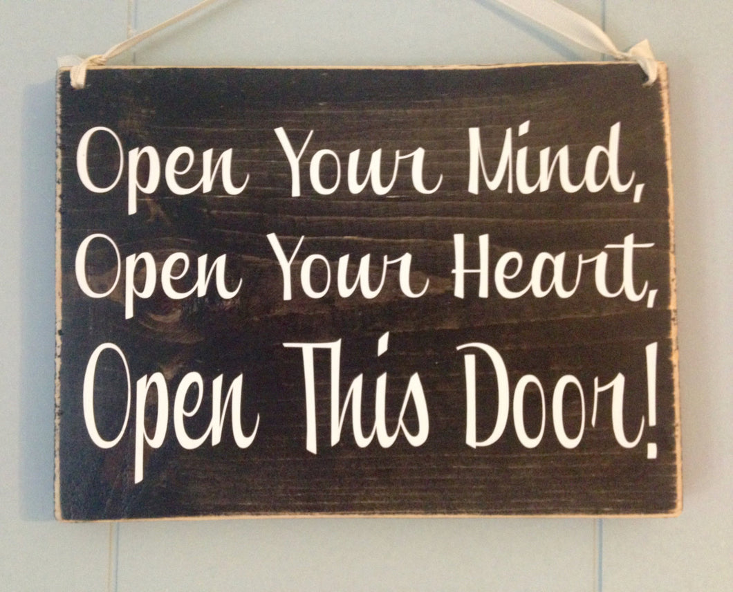 10x8 Open Your Heart Wood Spa Hall Welcome Sign