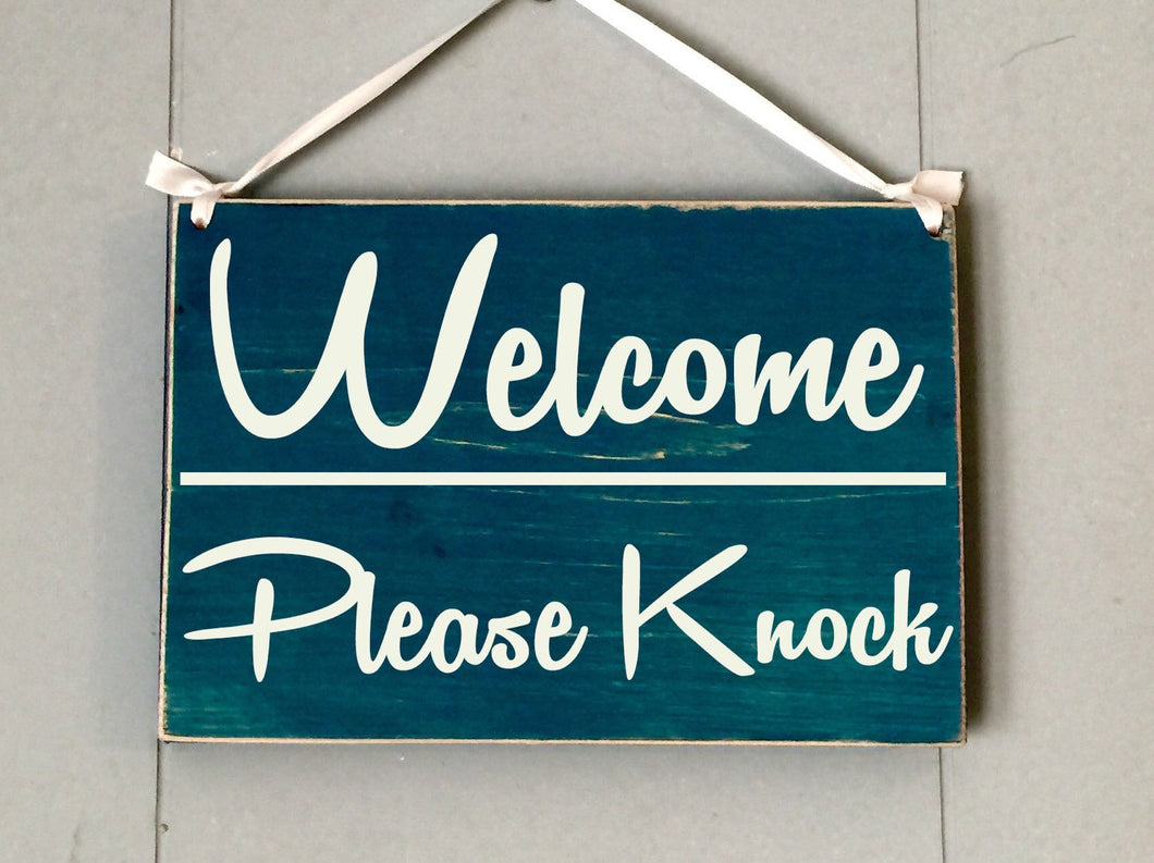 10x8 Welcome Please Knock Wood Business Sign