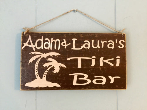 Personalized Name Tiki Bar Sign Custom Wood Sign Outdoor Patio Bar Tropical Beach Style Home Decor