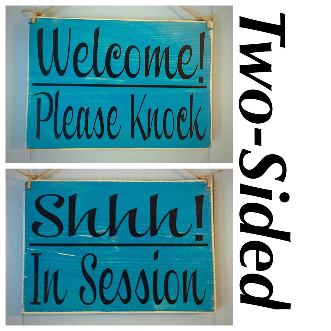 8x6 Two Sided Welcome Shhh Wood Sign