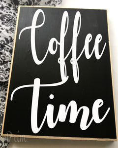 Coffee Time Kitchen Java Latte Brew Breakfast Morning Custom Wood Sign