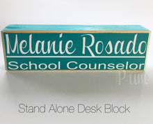 Load image into Gallery viewer, 10x4 Desk Name Wooden Block Sign for Business Nurses Administrator Teacher Job Title