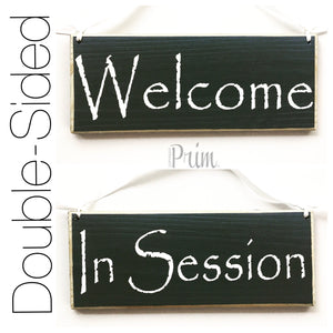 10x4 Welcome In Session Double Sided Wooden Business Office Sign