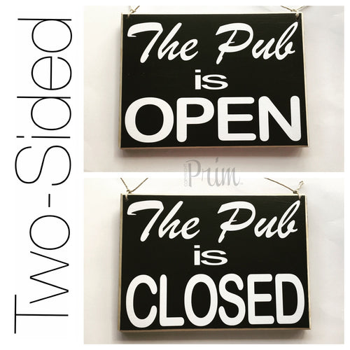 10x8 The Pub Double-Sided Wood Open Closed Sign