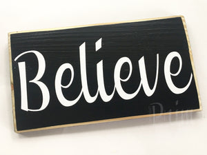 10x6 Believe Wood Blessings Inspire Sign