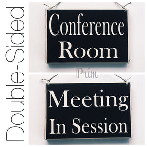 Designs by Prim Conference Room Meeting In Session Custom Wood Sign Office Salon Door Plaque