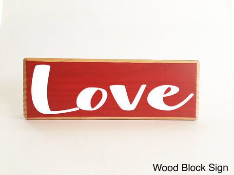 10x4 Love Wooden Wedding Anniversary Block Sign