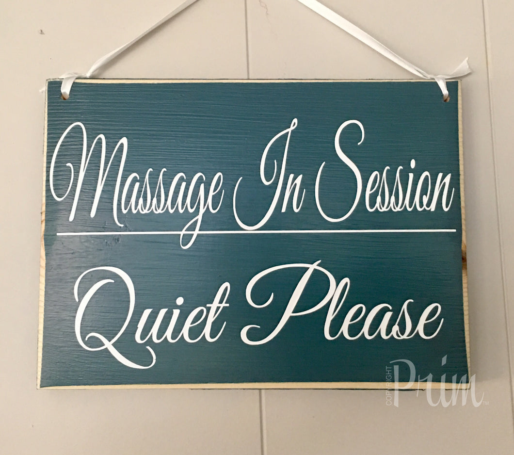 10x8 Massage In Session Quiet Please Wood Shhh Spa Service Sign