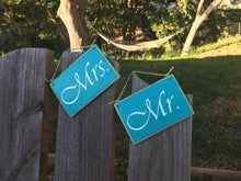 Load image into Gallery viewer, 6x4 Mr. and Mrs. Wood Wedding His and Hers Sign (set of 2)