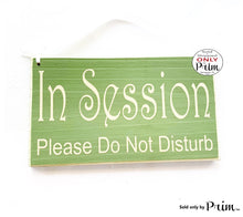 Load image into Gallery viewer, 10x6 In Session Please Do Not Disturb Custom Wood Sign Counselor Therapist Progress Therapy Do Not Enter Private Meeting Door Plaque