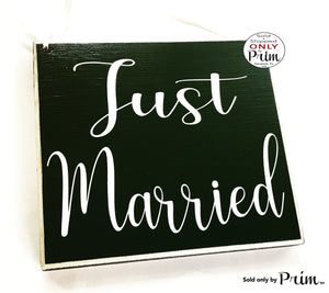 8x8 Just Married Custom Wood Sign Here Comes The Bride Bridal Suite Wedding Groom Ceremony Shower Party Hitched Walk Down the Aisle Plaque