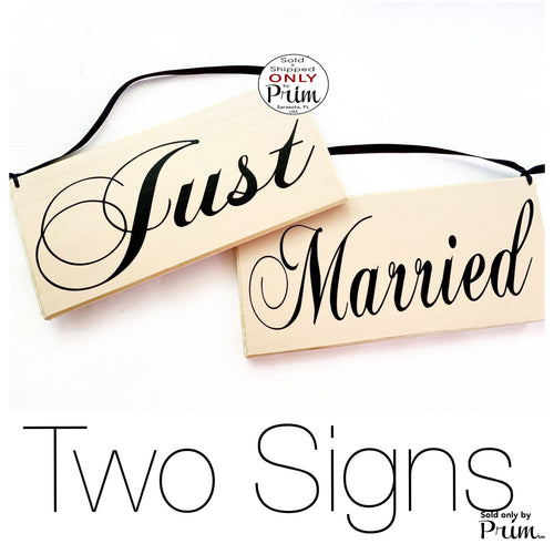 10x6 Just Married Bride Groom Double Sided (Choose Color) Custom Wedding His Hers Yours Mine Love Welcome Plaque Wood Signs (Set of 2)