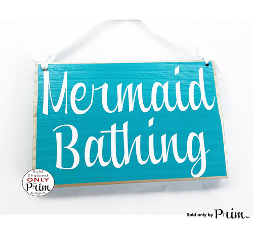 8x6 Mermaid Bathing Custom Wood Sign Nautical Beach Salt Life Ocean Shells Fish Welcome Restroom Bathroom Plaque