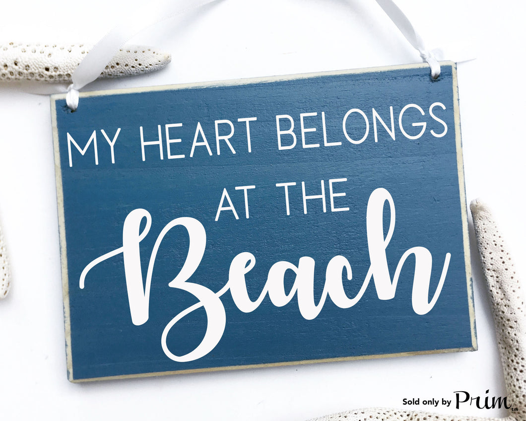 My Heart Belongs To The Beach Custom Wood Coastal Sign Sand Salt Life Seashell Ocean Flip Flops Bikini Beach Ball Summer Time Plaque