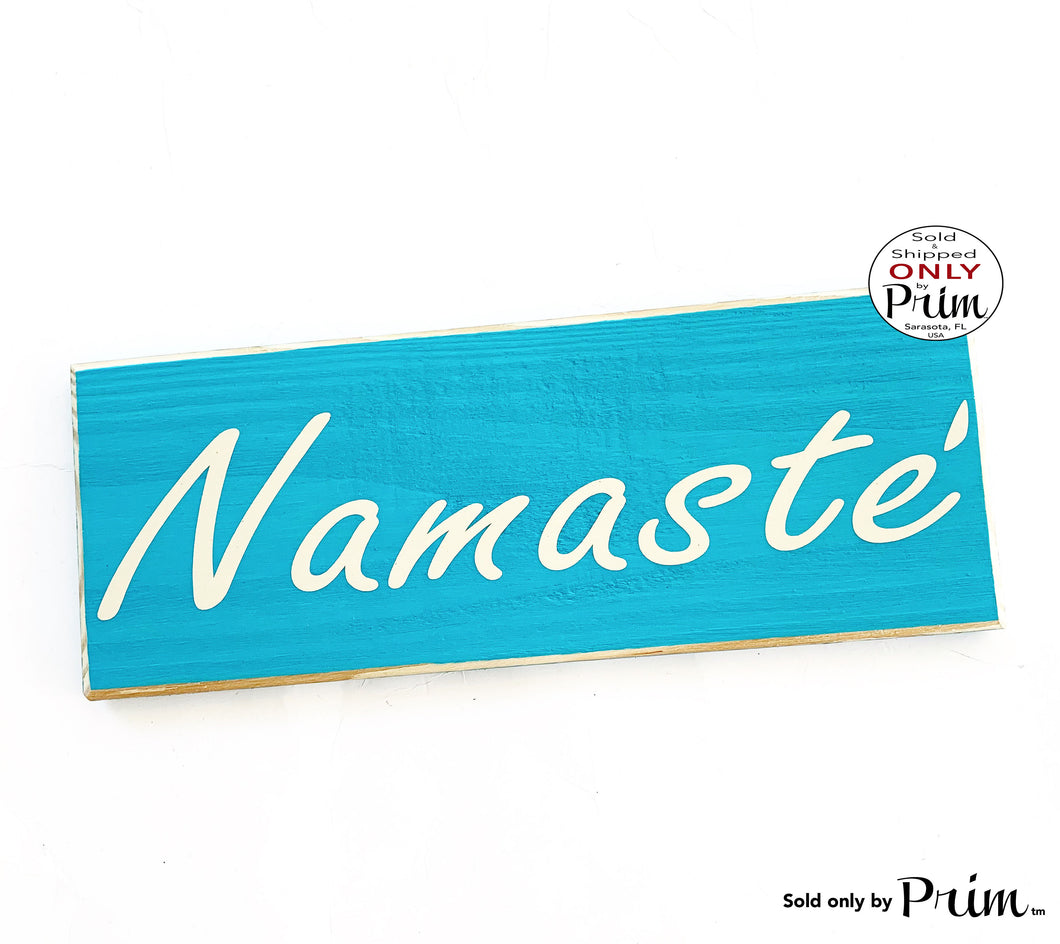 12x4 Namaste Custom Wood Sign | Om Yoga Zen Relax Chill Meditation Spa Pilates Yogi Door Plaque | Yoga Studio Meditation Room Wall Decor