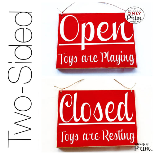 8x6 Open Closed Toys are Playing Resting Custom Wood Sign | Children Kids Play Room Daycare Time Out Playground Story Fun Door Plaque
