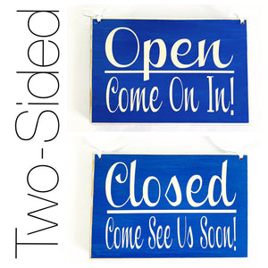 8x6 Two-Sided Open Come on In / Closed Come again soon Custom Wood Sign Business In Session Store Shop Hours Welcome Be Back Door Plaque