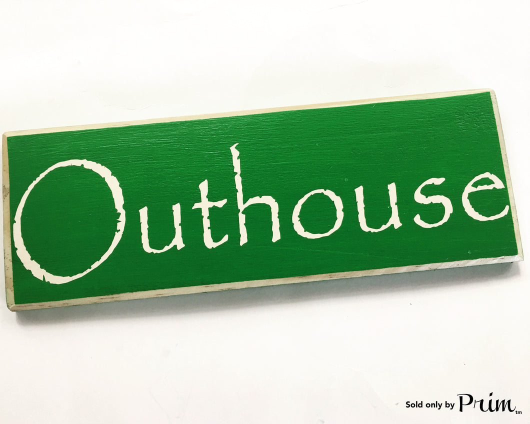 Outhouse Custom Wood Sign 12x4 Restroom Bath Laundry Bathroom Loo