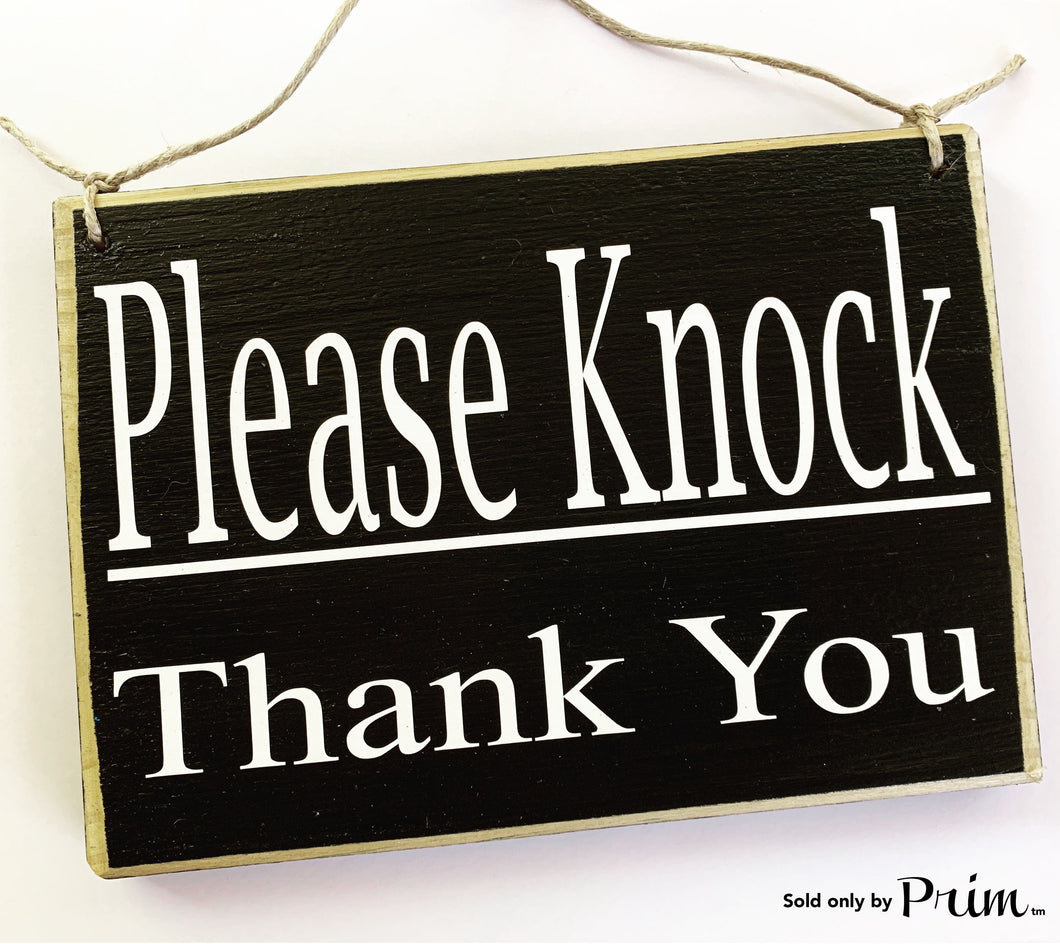 8x6 Please Knock, Thank you (Choose Color) Custom Wood Sign In Session Please Do Not Disturb Business Corporate Welcome Plaque