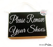 Load image into Gallery viewer, 8x6 Please Remove Your Shoes Custom Wood Sign No Shoes Welcome Come On In Family Flip Flops Mud Room Boots Slippers Wall Door Plaque