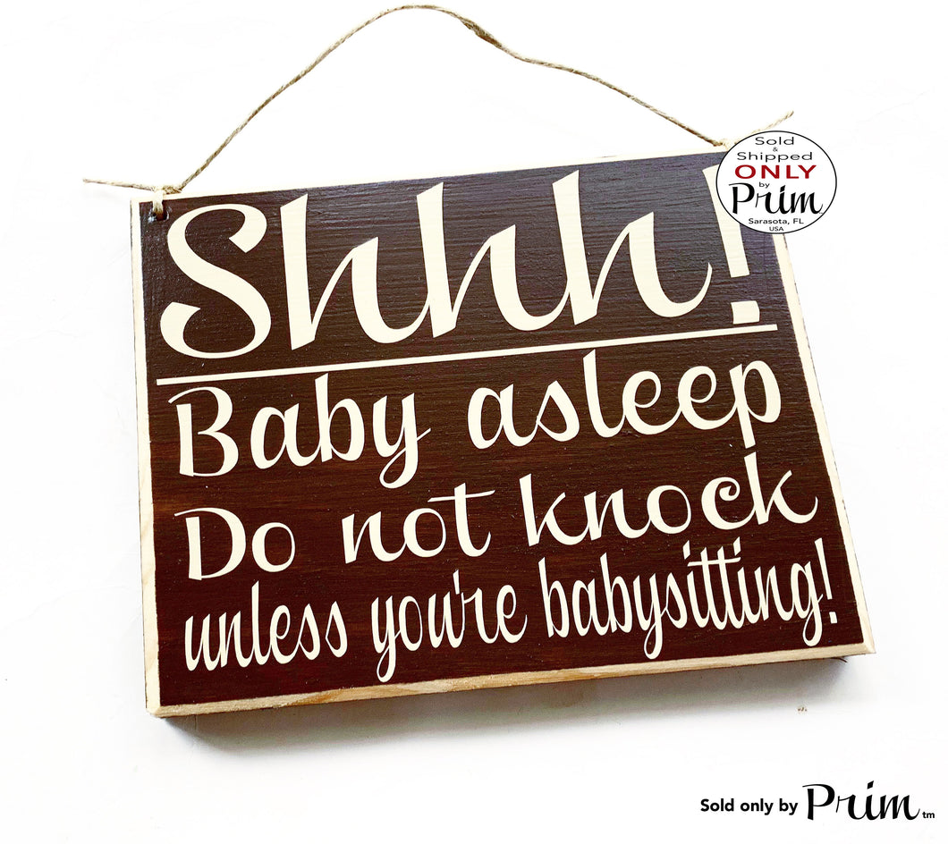 8x8 Shhh Baby Asleep Do Not Knock Unless Babysitting Custom Wood Sign Nap time Ring Doorbell Do Not Disturb Nursery Sign
