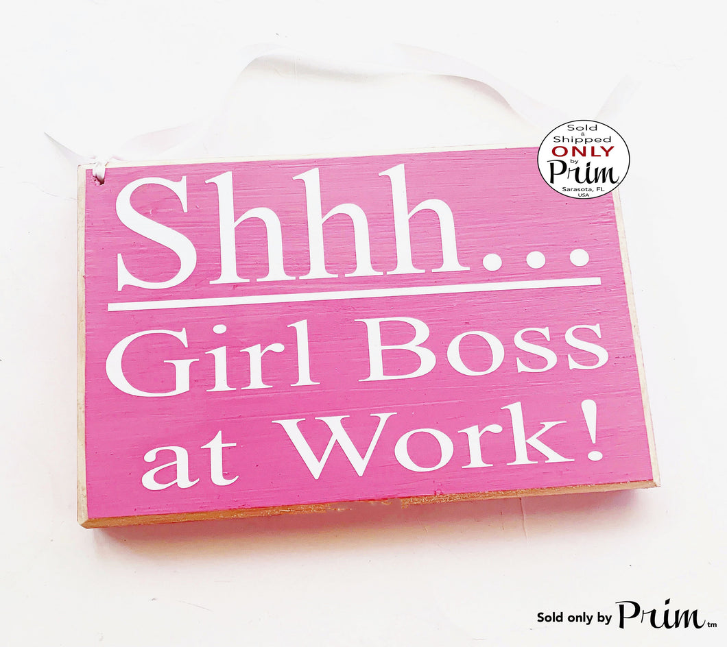 Shhh Girl Boss at Work 8x6 Custom Wood Sign In Session Progress Meeting Please Do Not Disturb Soft Voices Girl Power Women Door Plaque