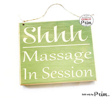 Load image into Gallery viewer, 8x8 SHHH Massage In Session Custom Wood Sign | Salon Spa Office Do Not Disturb Quiet Please Soft Voices Treatment Room Door Plaque