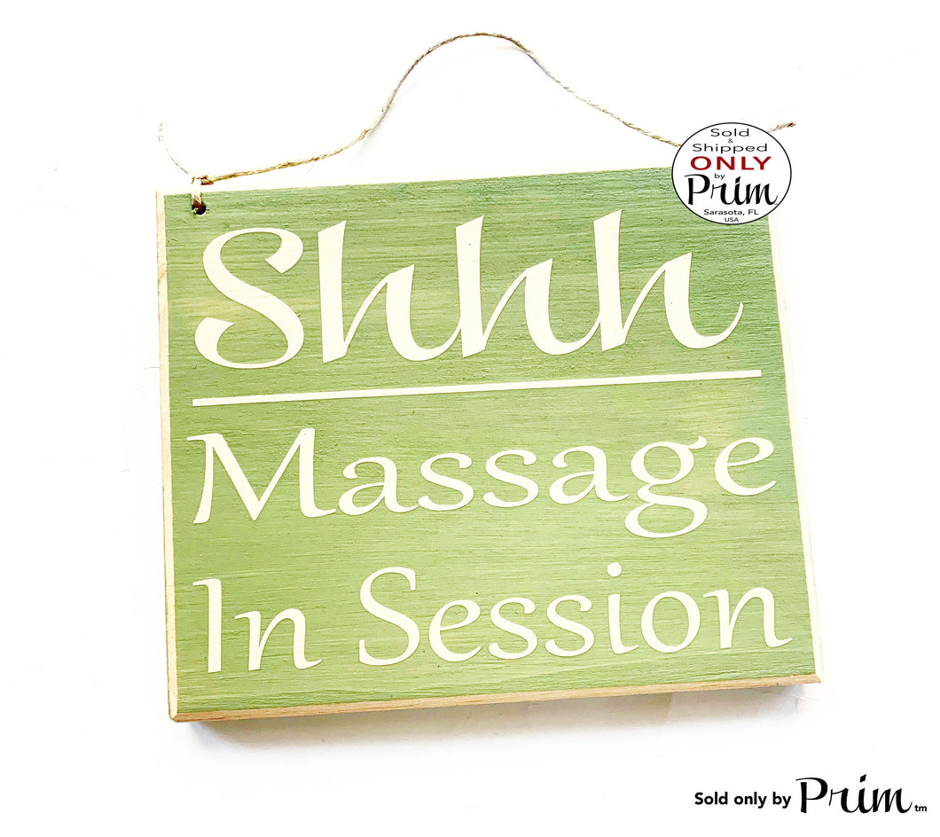 8x8 SHHH Massage In Session Custom Wood Sign | Salon Spa Office Do Not Disturb Quiet Please Soft Voices Treatment Room Door Plaque