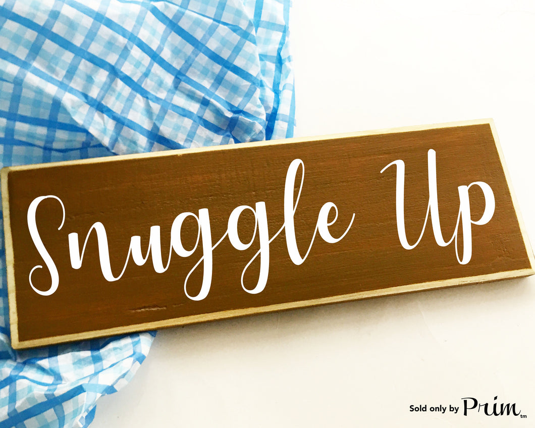 Snuggle Up His Hers Bedroom Cozy Wedding Anniversary Bridal Shower Sleep Custom Wood Sign