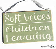 Load image into Gallery viewer, 8x6 Soft Voices Children Learning Custom Wood Sign Please Do Not Disturb Reading School Teaching Teacher Classroom Scholar  Shhh Door Plaque