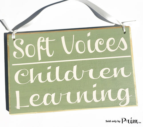 8x6 Soft Voices Children Learning Custom Wood Sign Please Do Not Disturb Reading School Teaching Teacher Classroom Scholar  Shhh Door Plaque