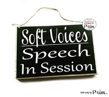 Load image into Gallery viewer, 8x6 Shhh Speech In Session Custom Wood Sign | Therapy Treatment Room Pathologist Language Communication Disorder Improvement Door Plaque