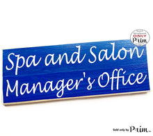 Load image into Gallery viewer, 14x6 Spa and Salon Manager Office Custom Wood Sign Business Employee Title Receptionist Front Entrance Wall Door Plaque Hanger
