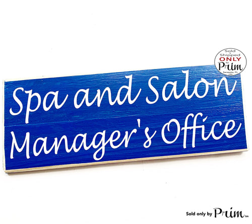 14x6 Spa and Salon Manager Office Custom Wood Sign Business Employee Title Receptionist Front Entrance Wall Door Plaque Hanger