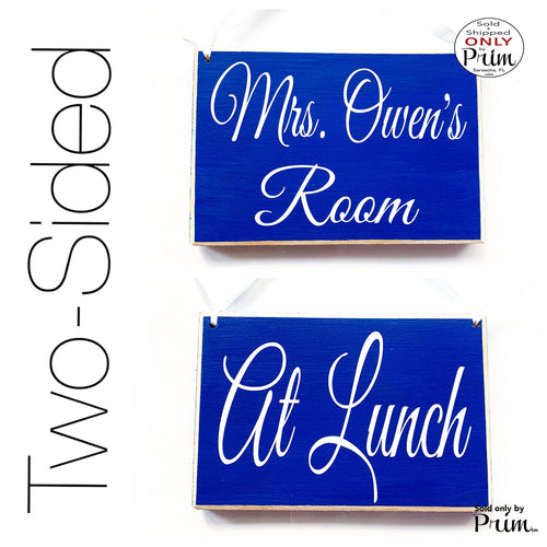 8x6 Custom Name ADD NAME Teacher Counselor At Lunch Wood Sign | Be Back Shortly Classroom School Therapist Office Business Door Plaque