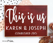 Load image into Gallery viewer, This Is Us Custom Wood Sign Personalized Name Date Established Wedding Anniversary Valentines Day Gift Soulmate Plaque