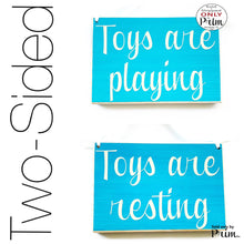 Load image into Gallery viewer, 8x6 Toys are Playing Resting Custom Wood Sign Children Kids Play Room Daycare Time Out Playground Toy Story Fun Daughter Son Girls Boys