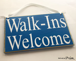 8x6 Walk-Ins Welcome (Choose Color) Office Salon Spa Therapy Massage Facial Custom Wood Sign Welcome Door Plaque
