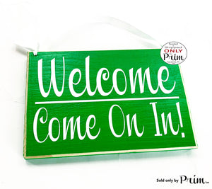 8x6 Welcome Come On In Custom Wood Sign 8x6 Front Door Spa Office Business Corporate Store Please Enter Door Wall Plaque