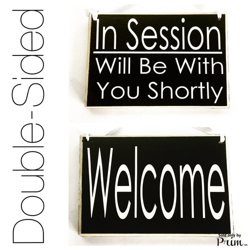 Two Sided 8x6 In Session Please Do Not Disturb Welcome Custom Wood Sign Spa Salon Office Door Hanger Please Knock Plaque