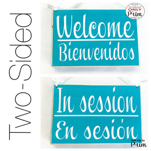 Two Sided 8x6 Welcome Bienvenidos In Session En Sesion Custom Wood Sign Spanish English Open  Spa Salon Closed Cerrado Office Door Hanger