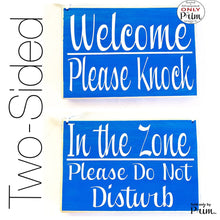 Load image into Gallery viewer, 8x6 Welcome Please Knock In The Zone Please Do Not Disturb Custom Wood Sign Welcome In A Meeting Conference Custom Door Plaque