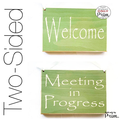 Two Sided 8x6 Meeting In Progress Welcome Custom Wood Sign | Session Please Do Not Disturb Spa Salon Office Door Hanger Plaque