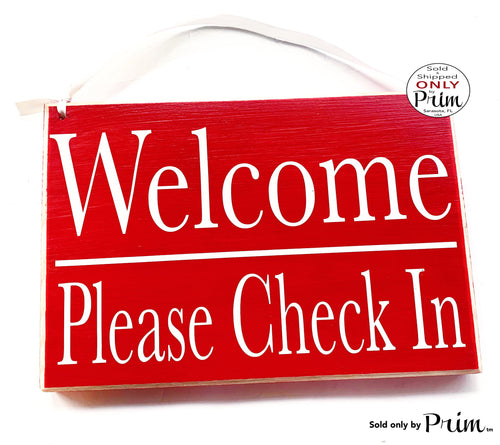 10x8 Welcome Please Check In Custom Wood Office Sign | Business Medical Salon Spa Service Counseling Welcome Appointment Open Door Plaque