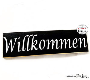 14x4 Willkommen German Welcome Deutsch Custom Wood Sign Biergarten Oktoberfest Herzlich Germany Decor Wall Door Plaque