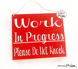 8x8 Work In Progress Please Do Not Knock Custom Wood Sign | In Session Meeting Do Not Disturb Office Business Do Not Enter Wall Door Plaque
