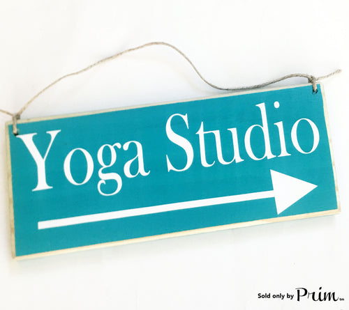 12x6 Custom Yoga Studio Arrow Front Door Custom Wood Sign Meditation Namaste Pilates Zen Workout Business Deliveries Leave Packages Plaque