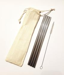 Metal Straw Pack - 4 straws plus cleaner in carry bag