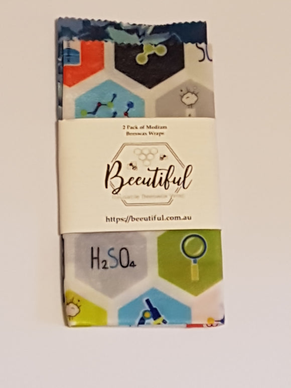 Beeutiful beeswax wraps 2 pack of medium. Ederra Home and Garden Decor. Antibacterial, chemical free, Australian made, handmade.